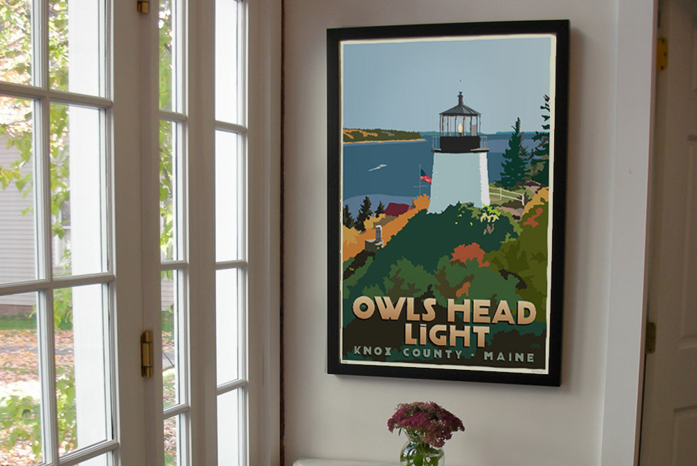 "Above Owls Head Light Art Print 24"" x 36"" Framed Travel Poster - Maine by Alan Claude"