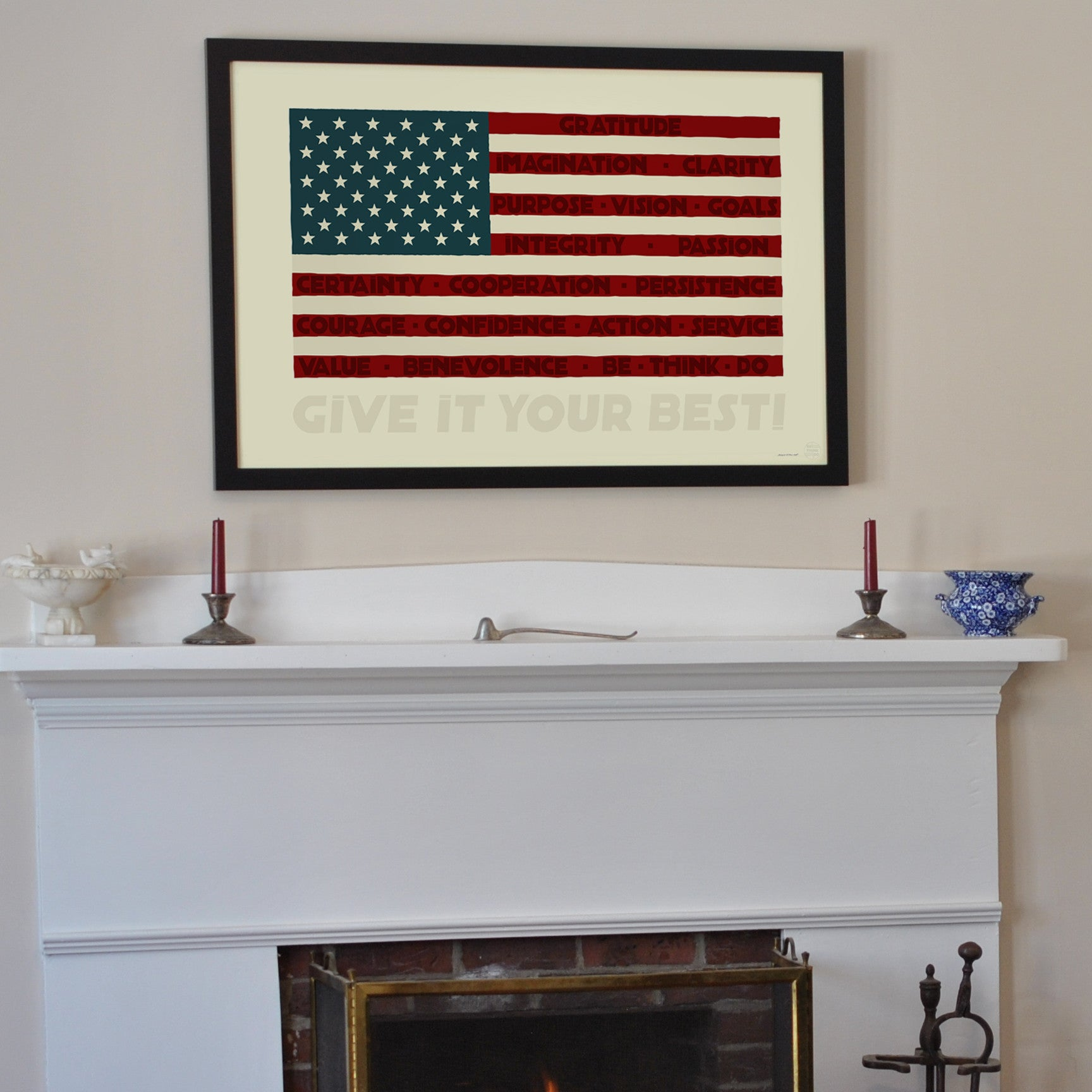 "GIVE IT YOUR BEST! USA Flag Art Print 24"" x 36"" Framed Wall Poster"