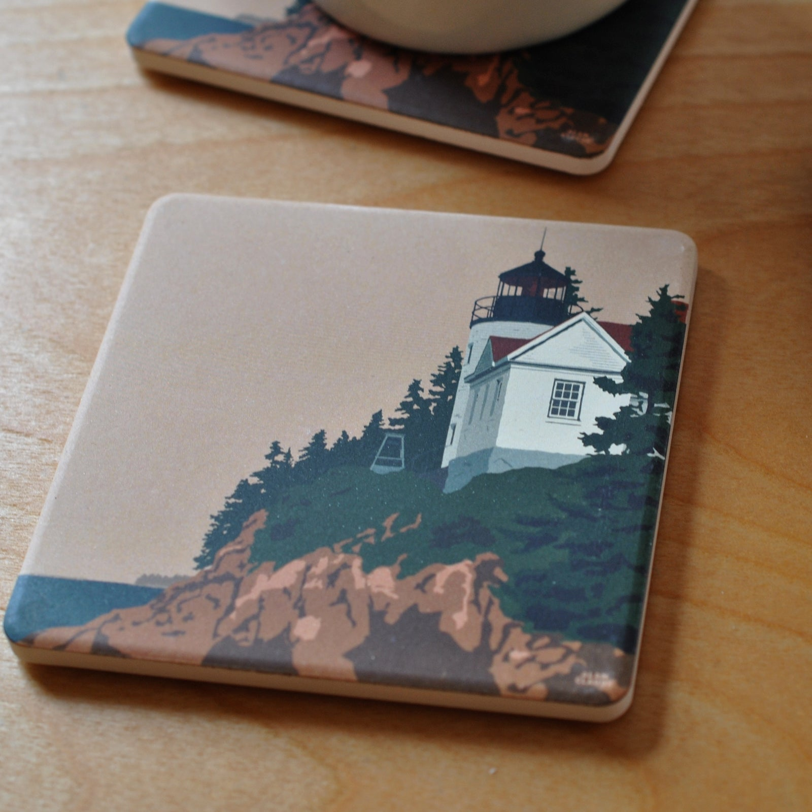 Bass Harbor Head Light ACADIA National Park Art Drink Coaster - Maine-
