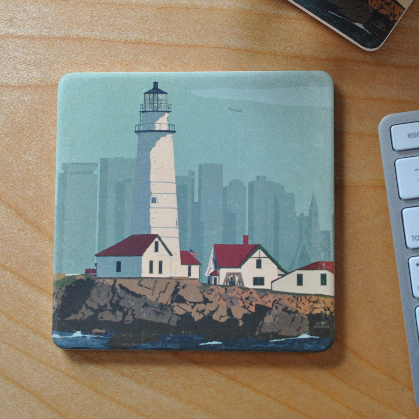 Boston Light Art Drink Coaster - Massachusetts-sold out
