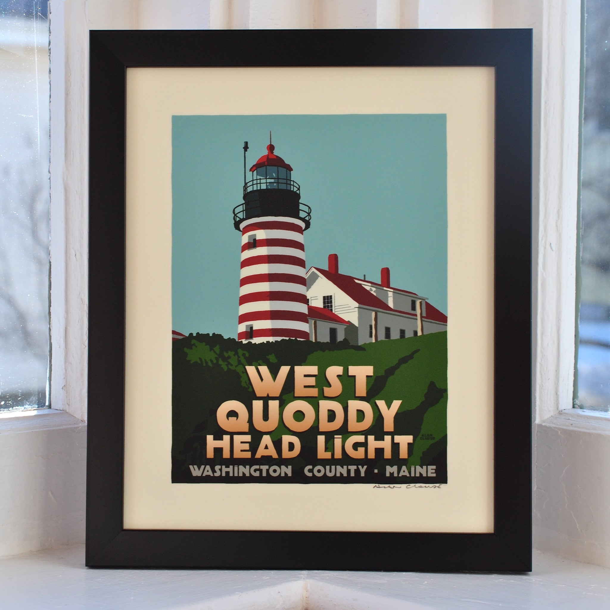 "West Quoddy Head Light Art Print 8"" x 10"" Framed Travel Poster - Maine"