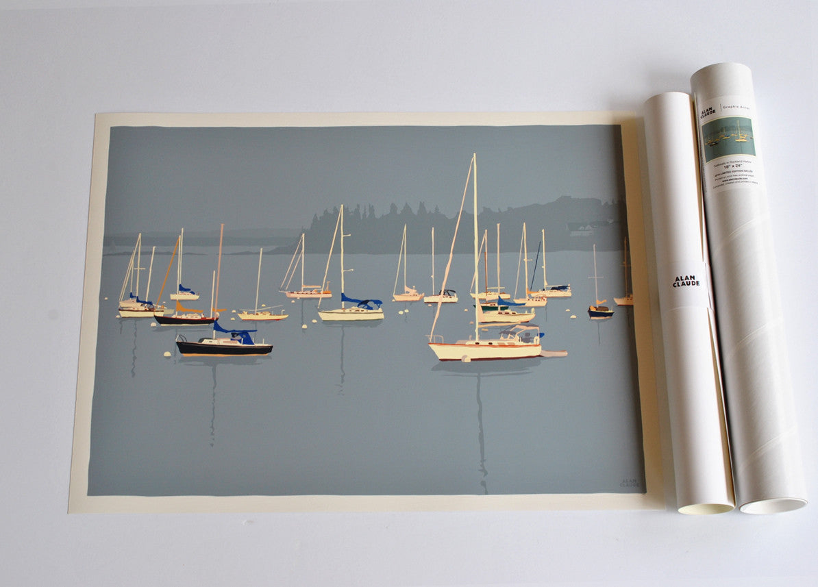 "Sailboats in Rockland Harbor Art Print 18"" x 24"" Wall Poster - Maine"