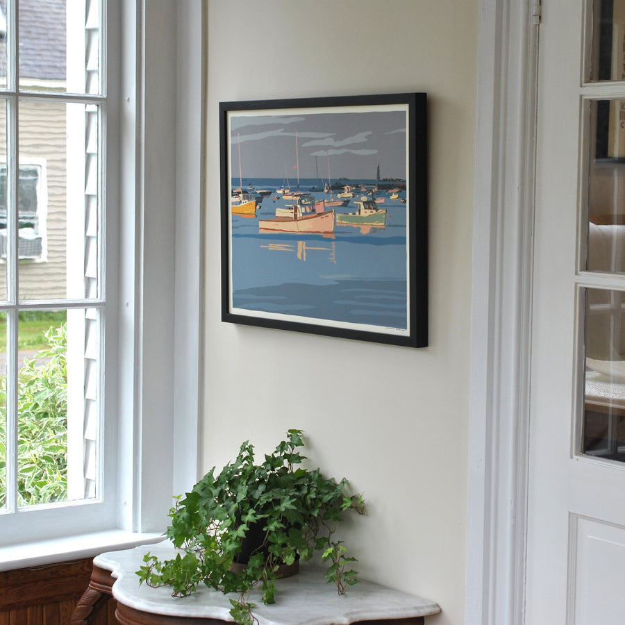 "Sunset at Minot's Ledge Light Art Print 18"" x 24"" Framed Wall Poster - Massachusetts"
