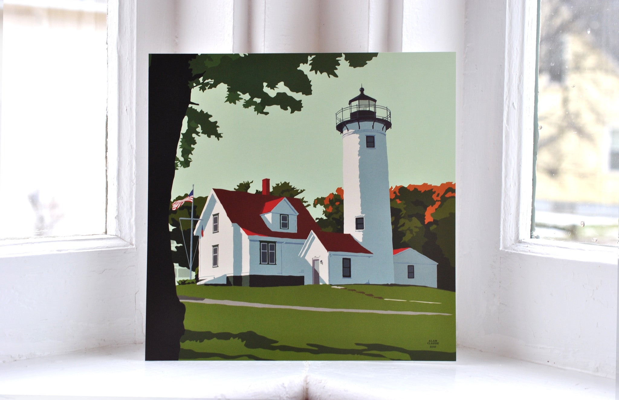 "West Chop Light Art Print 8"" x 8"" Square"