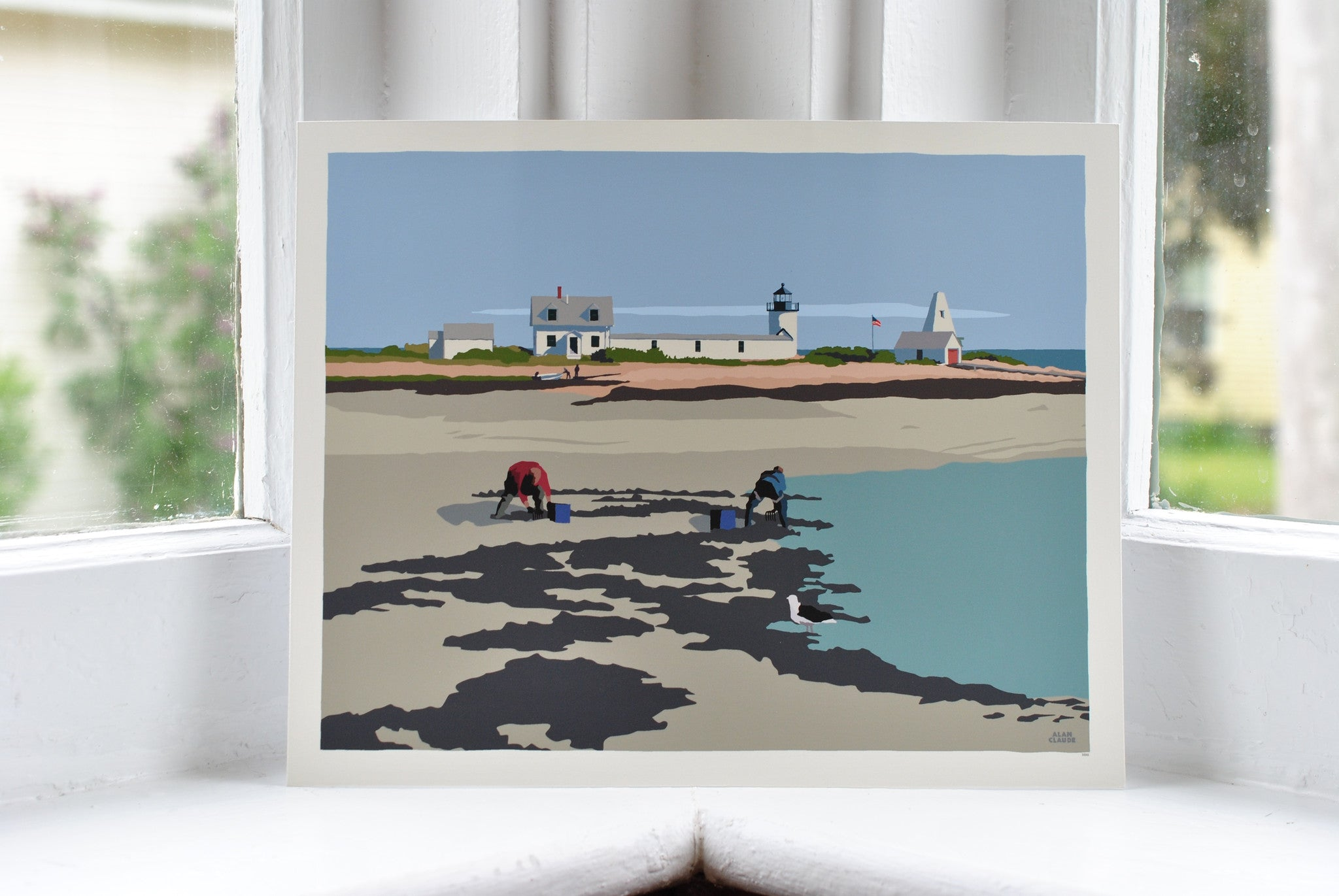 "Goat Island Clammers Art Print 8"" x 10"" Wall Poster - Maine"