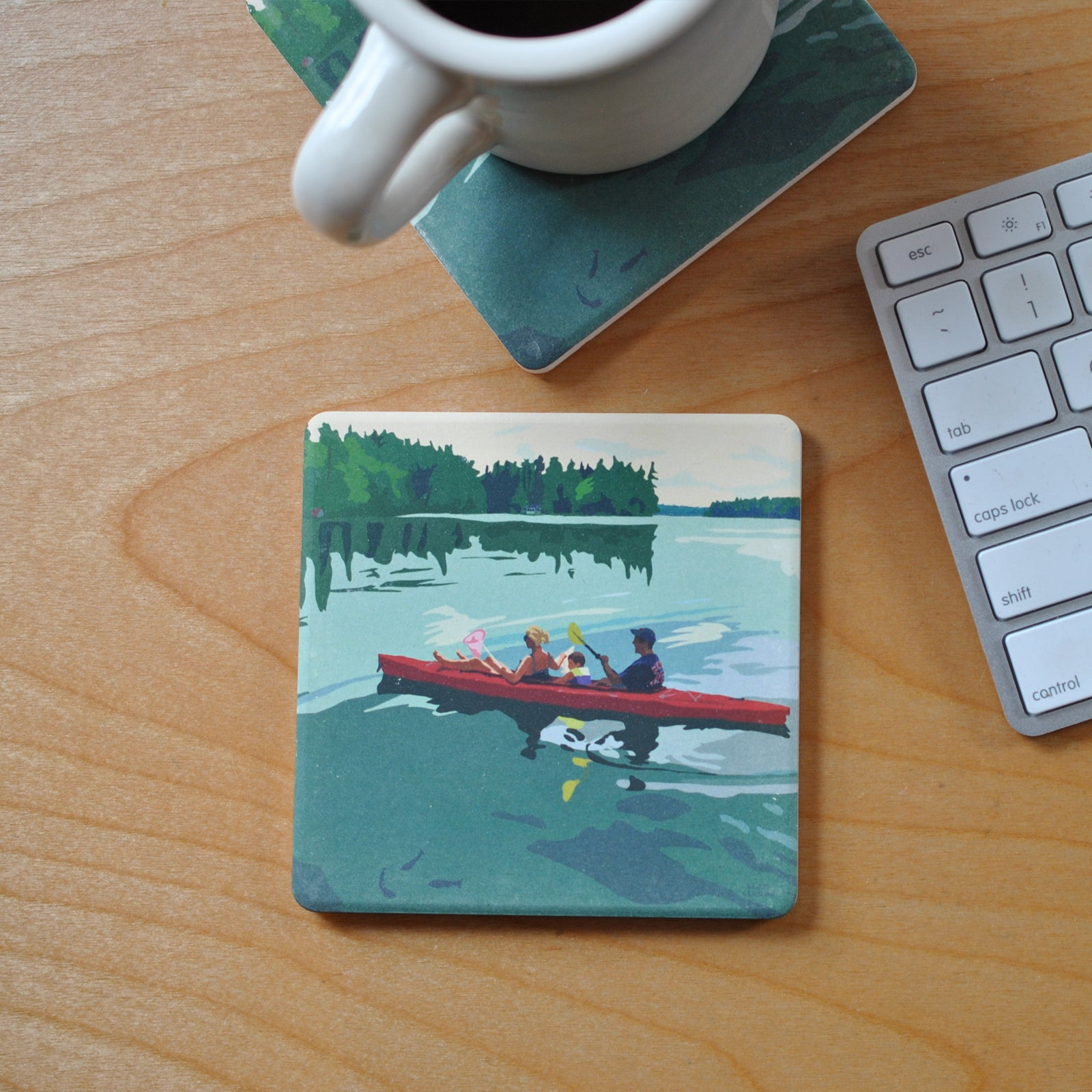 Kayaking On A Lake Art Drink Coaster