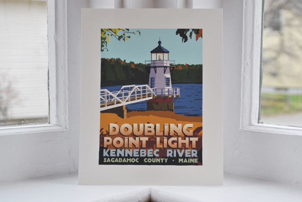 "Doubling Point Light Art Print 8"" x 10"" Travel Poster - Maine"