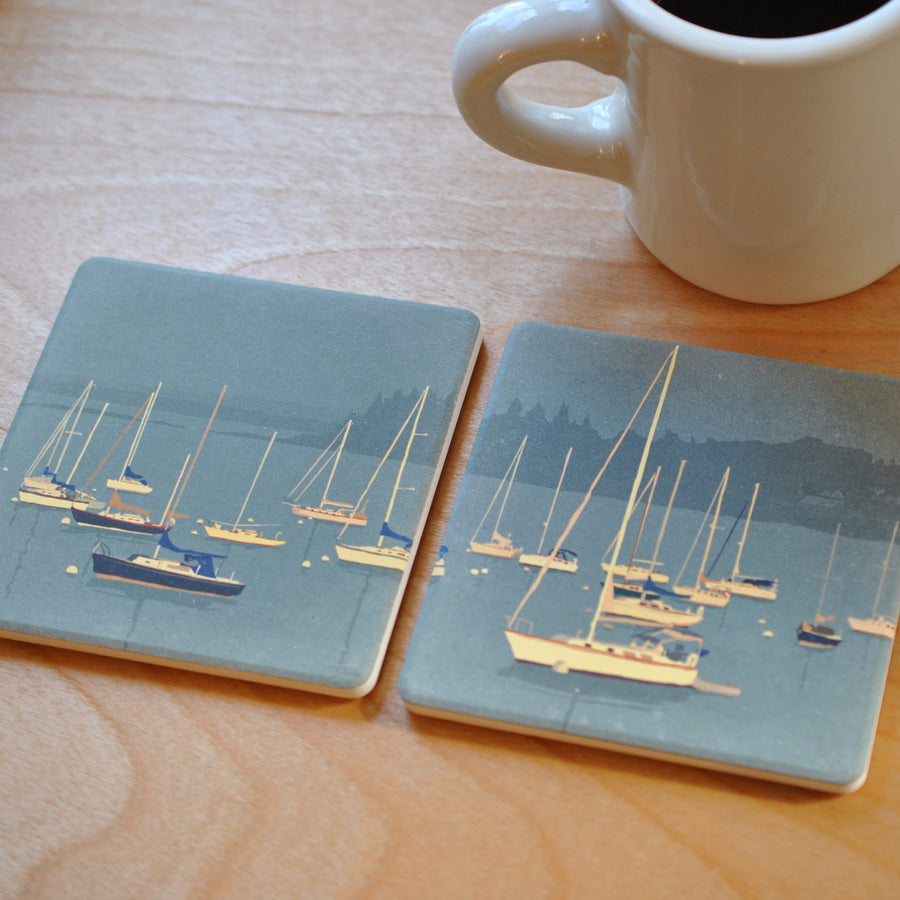 Sailboats In Rockland Harbor Art Drink Coaster - Maine