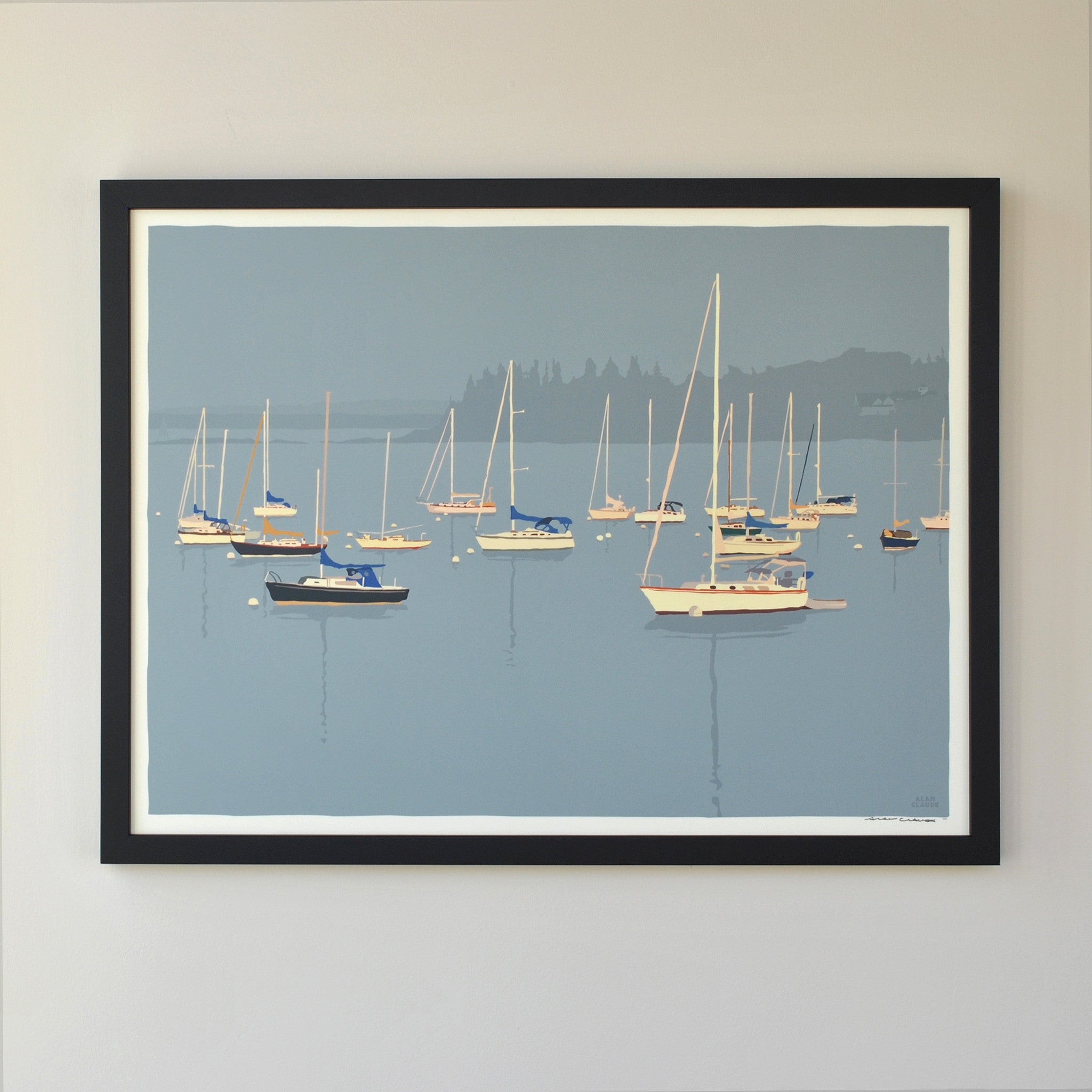 "Sailboats in Rockland Harbor Art Print 18"" x 24"" Framed Wall Poster - Maine"