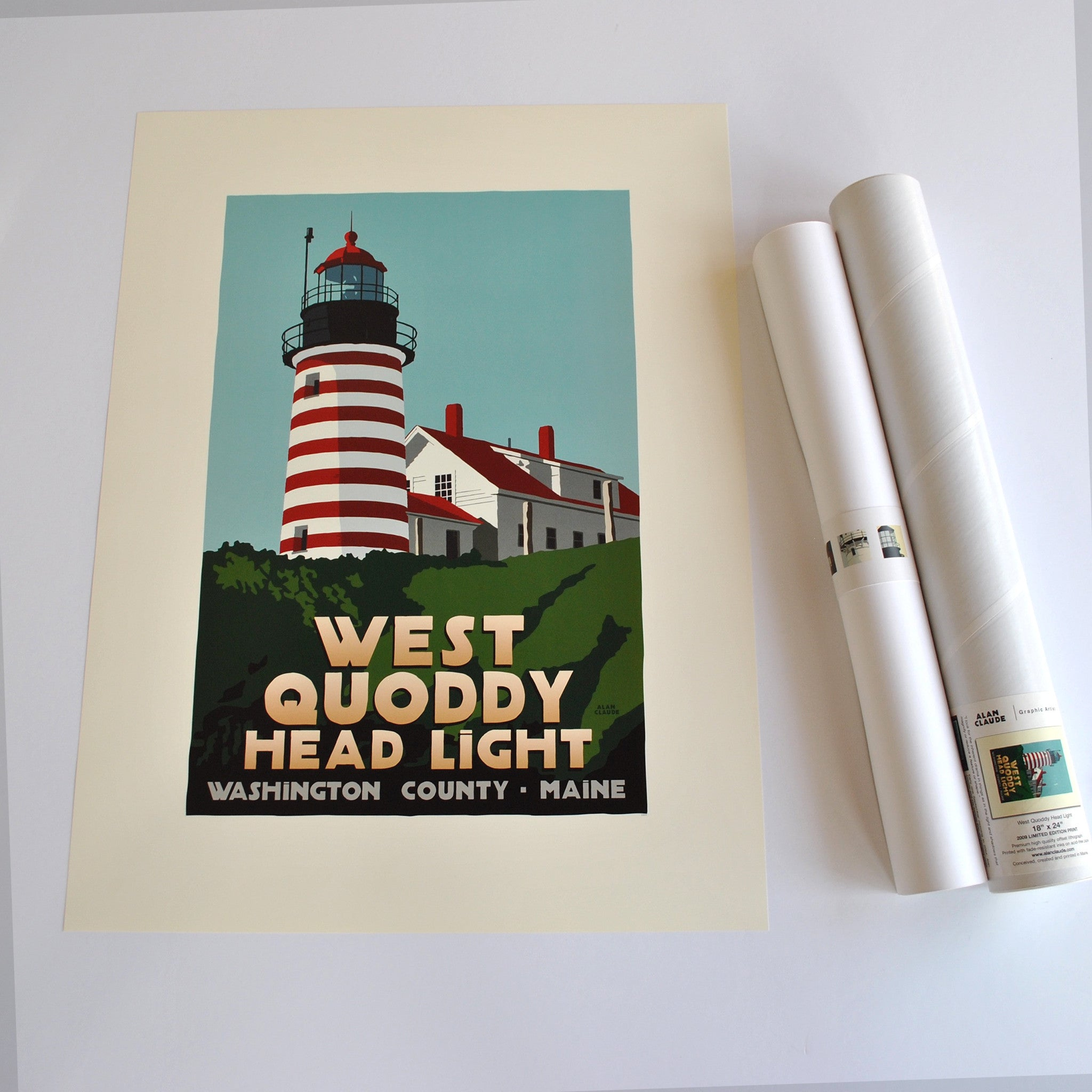 "West Quoddy Head Light Art Print 18"" x 24"" Travel Poster - Maine"