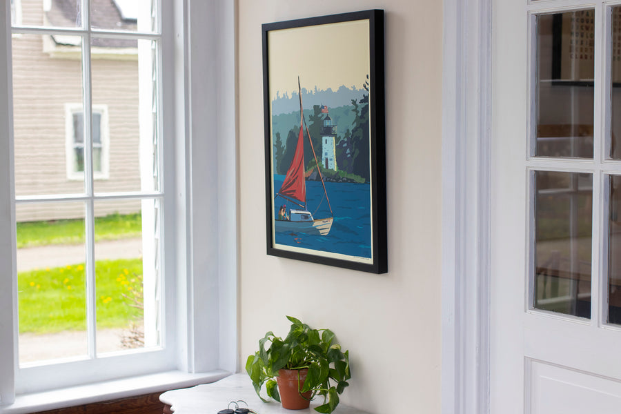 "Sailing Ladies Delight Lighthouse Art Print 18"" x 24"" Framed Wall Poster"