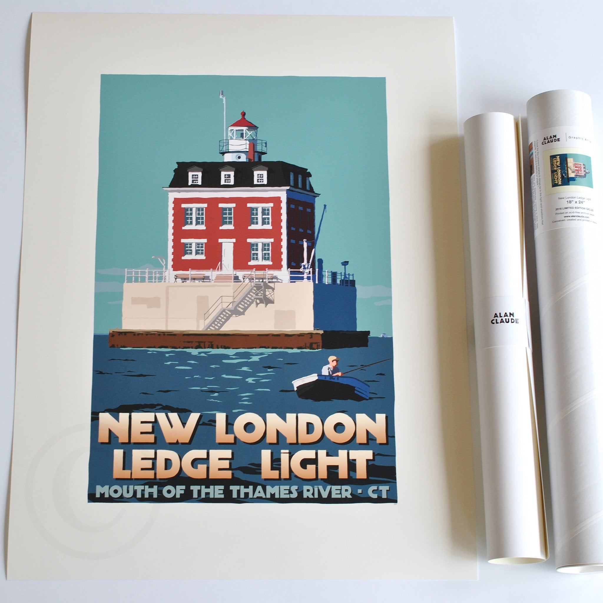 "New London Ledge Light Art Print 18"" x 24"" Travel Poster - Connecticut"
