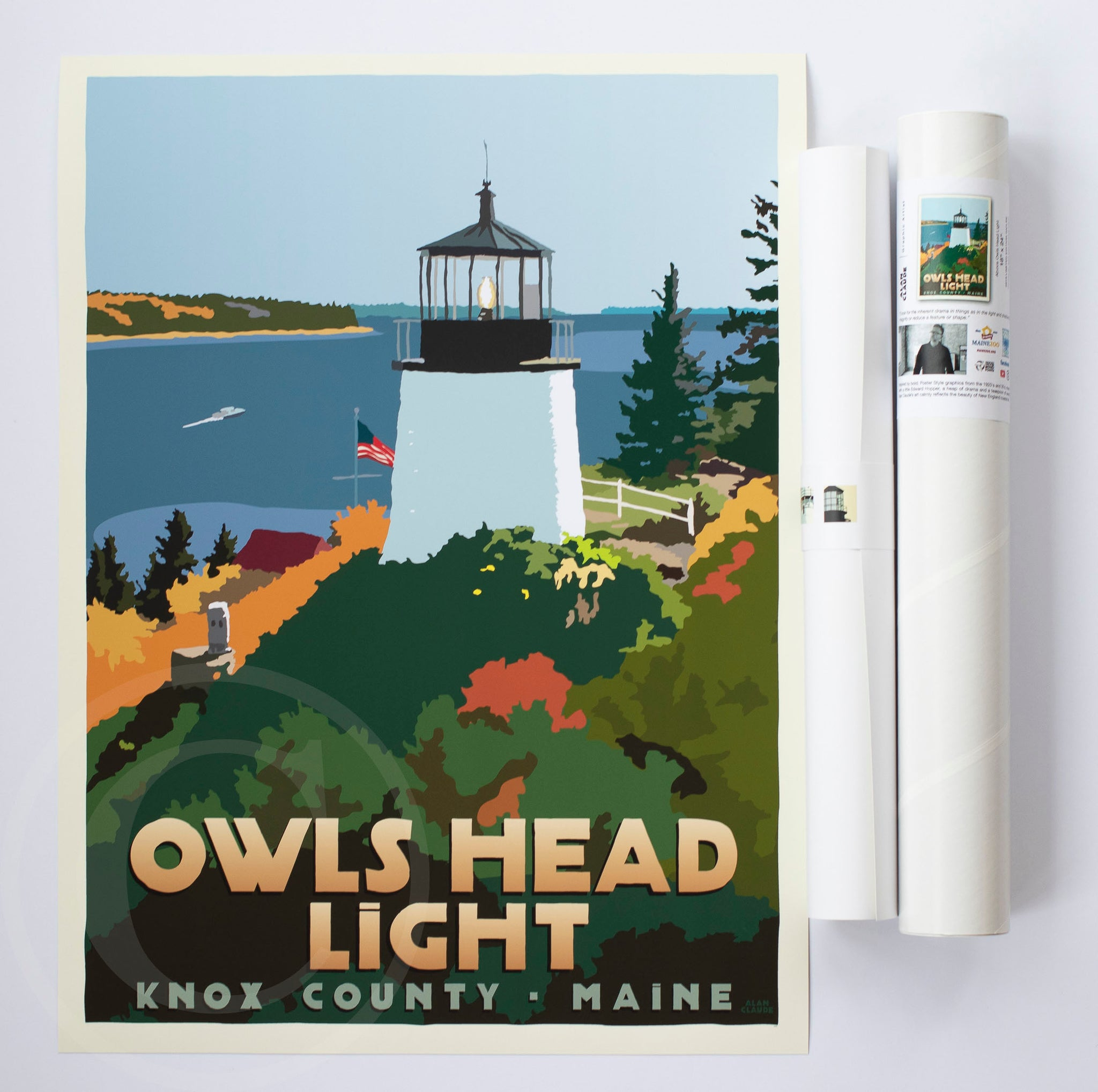 "Above Owls Head Light Art Print 18"" x 24"" Travel Poster - Maine"