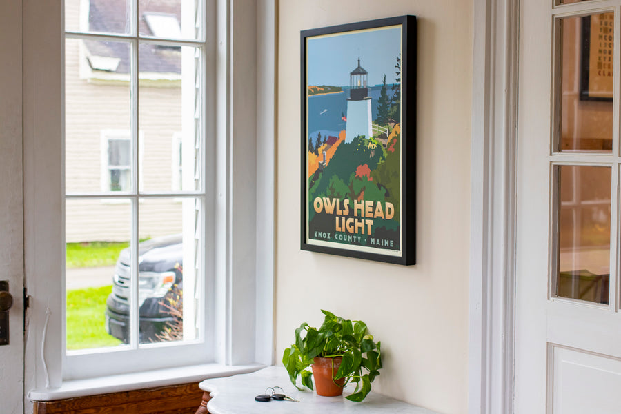 "Above Owls Head Light Art Print 18"" x 24"" Framed Travel Poster - Maine by Alan Claude"