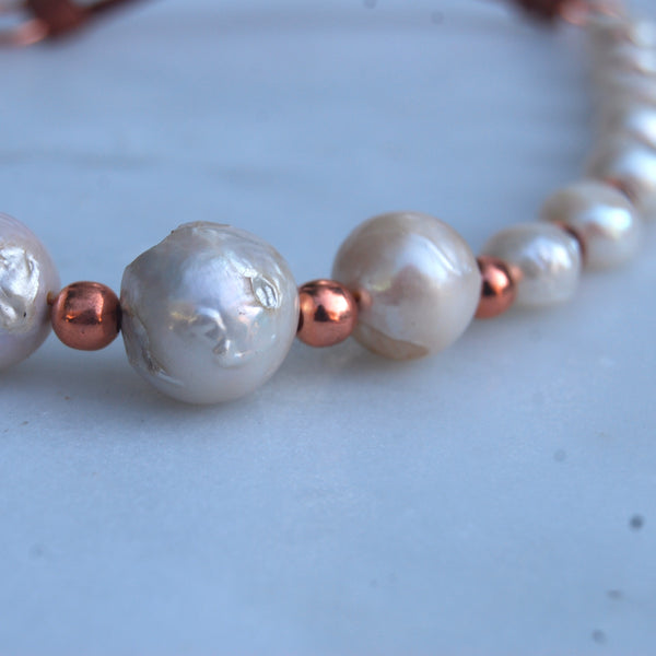 Baroque Pearl and Copper Necklace by Cherokee Copper