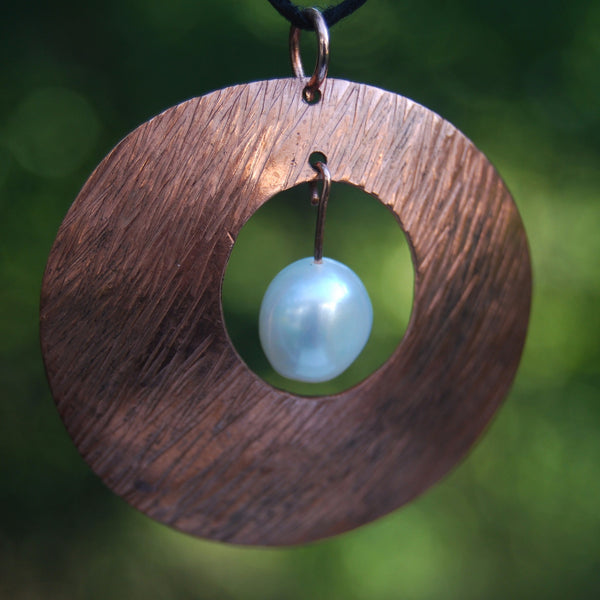 Copper Storm Pearl Pendant by Cherokee Copper