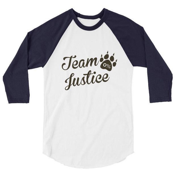 """Team Justice"" 3/4 sleeve Raglan Shirt - Multiple Colors Available"
