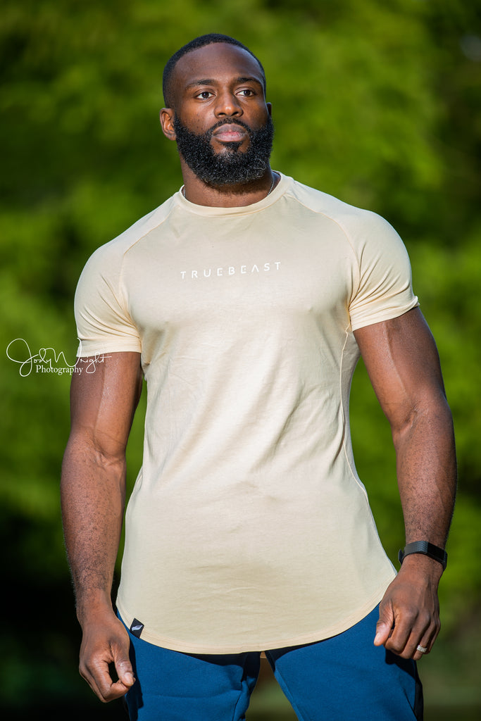 Rogue Muscle Fit T-shirt | Sand and White