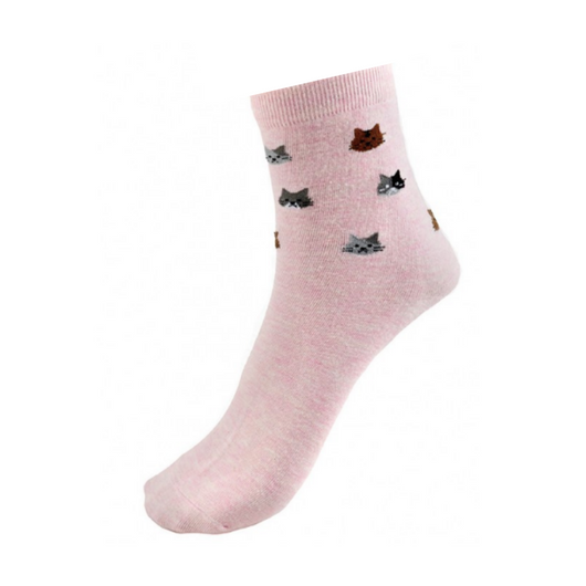 Pink Kitty Face Socks