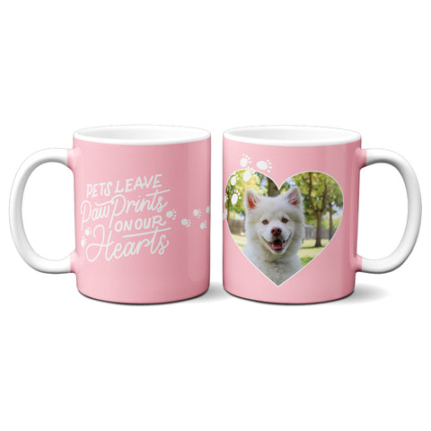 Personalized Pet's Leave Paw Prints on Our Hearts Custom Dog Coffee Mug