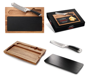 casaWare 3-piece Cheese Board Cutlery Set (5-Inch Cheese/Santoku, Acacia Wood, Slate Serving Bd) - LaPrima Shops ®