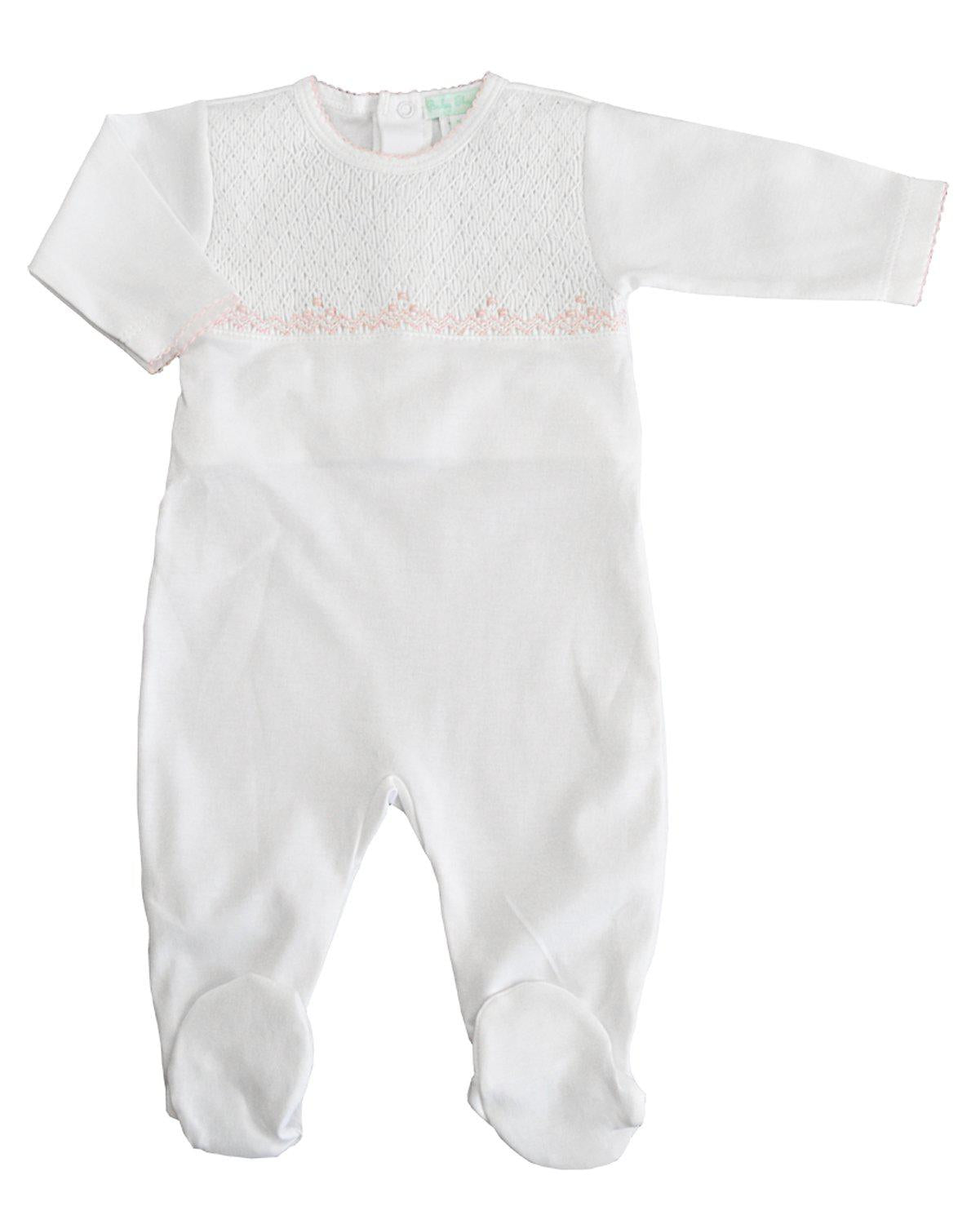 White Full Smocked Footie with pink trim