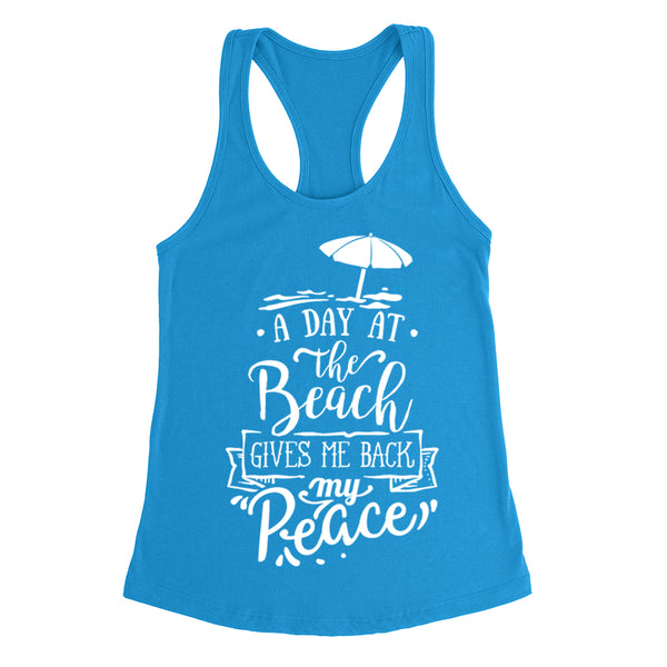 A day at the beach gives me back my peace  funny cute  humor cool fashion vintage summer  Ladies  Racerback Tank Top