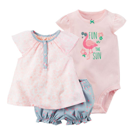 BABY 3 PCS SUMMER COTTON ROMPERS