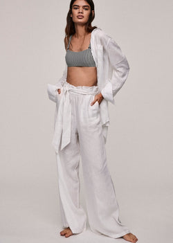 White Linen Wide Leg Trouser