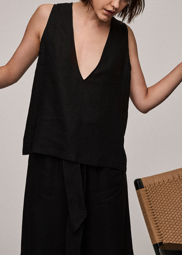 Jet Black Linen V Neck Top