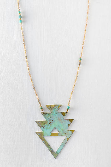 southwestern necklace in green and gold