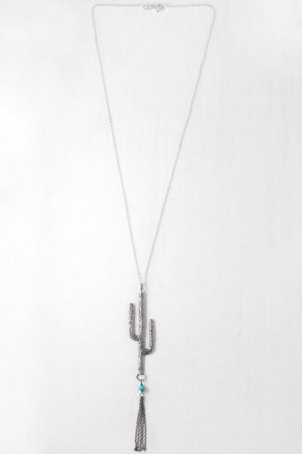 Silver saguaro necklace with fringe