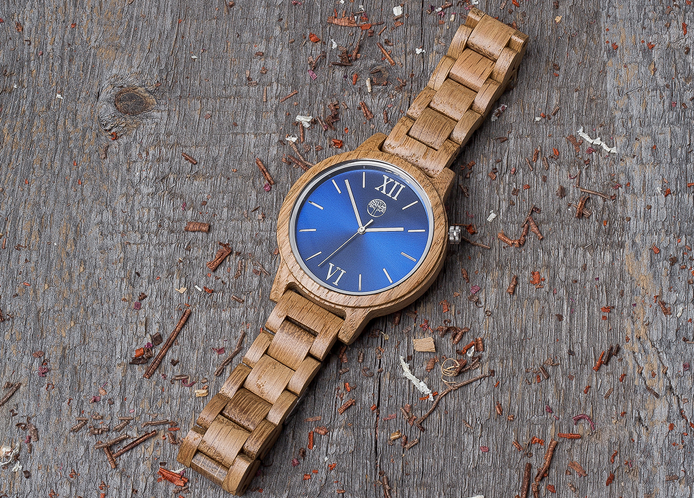 Original oak wood grain watch, wood band, navy blue dial