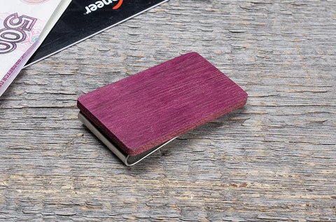 Purple heart wood minimal money clip