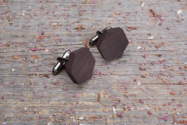 Hexagon wenge cufflink