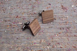 Square walnut cufflink