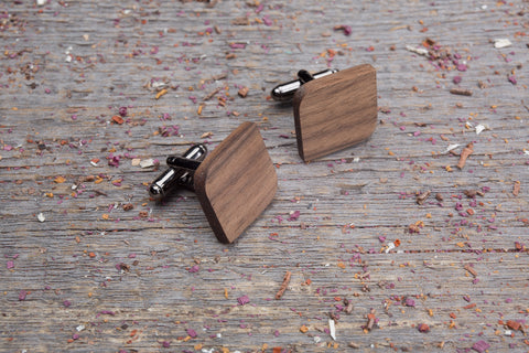 Rounded square walnut cufflink