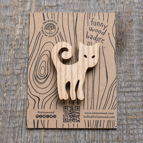 white cat wooden pin
