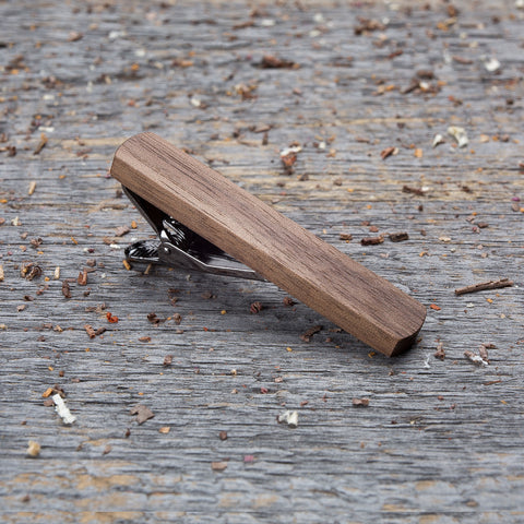 walnut wood tie clip
