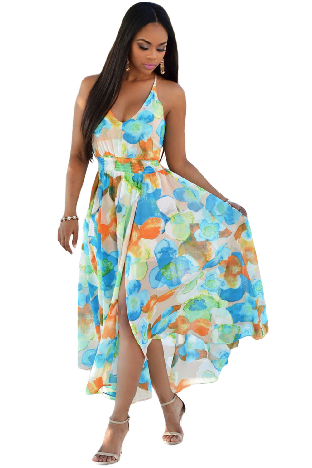 Tangerine Multi-Color Floral Paneled Dress - Jahnell's Closet