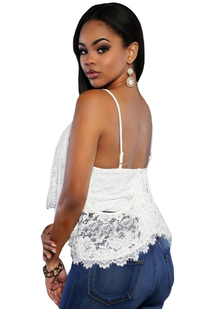 White Floral Lace Cami Top - Jahnell's Closet