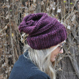 Slouchy Beanie -Traditional claret