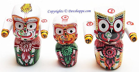 Beautiful wooden idols of Sri Jagannath, Subhadra and Balabhadra - Devshoppe
