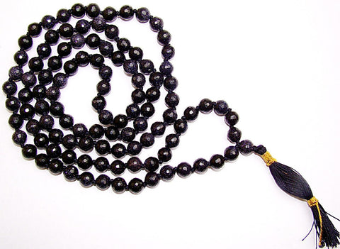 Blue Sunstone high quality faceted beads mala for good fortune and Prosperity - Devshoppe