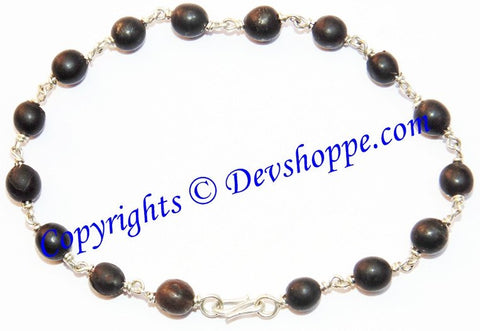 Black Vaijanti beads bracelet in white metal - Devshoppe
