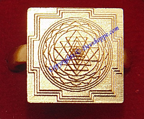 Meru 3D yantra (Sriyantra) ring in Brass ~ Fully Adjustable - Devshoppe - 1