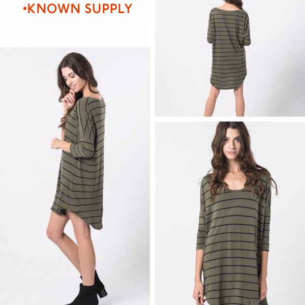 Olive Fawn Dress || By, Known Supply