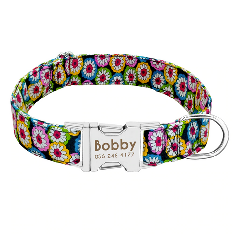 Colourful Flowers Personalised Pet Collar