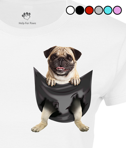 Pug in a Pocket T-Shirt - Womens
