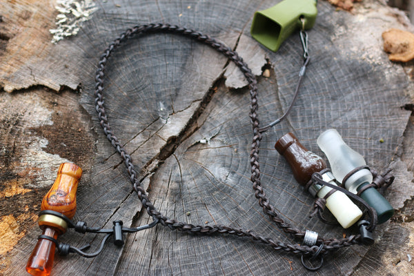Custom Round Braided Waxed Leather Call Lanyard